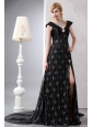 Best Black A-line V-neck Prom Dress Chapel Train Lace Beading