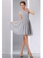 Brand New Grey A-line Scoop Ruch Junior Prom Dress Knee-length Chiffon