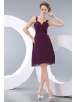 Burgundy A-line Straps Bridesmaid Dress Under 100 Knee-length Chiffon Ruch