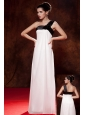 Cheap Black and White One Shoulder Bow Bridesmaid Dress Empire Floor-length Chiffon