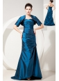 Cheap Blue Prom Dress Column / Sheath Sweetheart Brush Train Satin Ruch