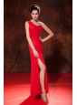Cheap Red Prom Dress Empire One Shoulder Ruch Floor-length Chiffon