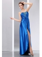Cheap Blue Prom Dress Column Spaghetti Straps Beading and Ruch Floor-length Elastic Wove Satin