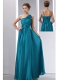 Cheap Teal Prom Dress Empire One Shoulder Hand Made Flowers and Ruch Floor-length Chiffon and Elastic Wove Satin