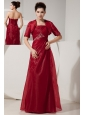 Cheap Wine Red Prom Dress Empire Strapless Beading Floor-length Organza