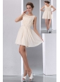 Classical Champagne A-line Scoop Ruch Junior Prom Dress Mini-length Chiffon