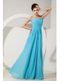 Elegant Baby Blue Empire Sweetheart Ruch Bridesmaid Dress Floor-length Chiffon
