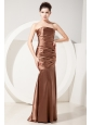 Elegant Chocolate Mermaid Bridesmaid Dress Strapless Floor-length Taffeta Ruch