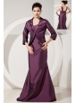 Elegant Dark Purple Mermaid Bridesmaid Dress Straps Brush Train Satin