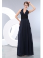 Elegant Navy Blue Empire Halter Lace Bridesmaid Dress Floor-length Chiffon
