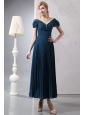 Elegant Navy Blue Homecoming Dress Column V-neck Ankle-length Chiffon and Organza Beading