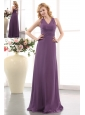Elegant Purple Empire V-neck Bridesmaid Dress Floor-length Chiffon Ruch