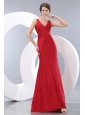 Elegant Red Column V-neck Ruch Bridesmaid Dress Floor-length Taffeta