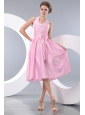 Exquisite Pink Junior Prom / Homecoming Dress Empire Halter Tea-length Taffeta Beading and Bowknot