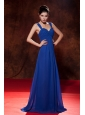 Modest Royal Blue Empire Straps Homecoming Dress Brush Train Chiffon Ruch