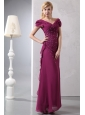 Modest Burgundy Column V-neck Prom Dress Ankle-length Chiffon Beading
