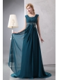 Modest Peacock Green Empire Prom Dress Straps Court Train Chiffon Beading