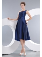 Modest Navy Blue Empire Homecoming Dress One Shoulder Knee-length Taffeta Hand Made Flowers