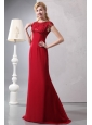 Modest Wine Red Column Prom Dress Scoop Brush Train Chiffon Beading