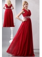 Modest Wine Red Empire V-neck Plus Size Prom Dress Floor-length Chiffon Beading