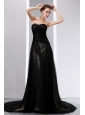 Popular Black Evening Dress Empire Sweetheart Court Train Tulle