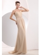 Pretty Champagne Empire Homecoming Dress Straps Brush Train Chiffon Ruch
