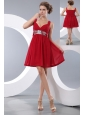 Pretty Wine Red Empire Straps Sequins Junior Prom / Homecoming Dress Mini-length Chiffon