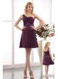 Purple Empire One Shoulder Bridesmaid Dress Under 100 Mini-length Taffeta Ruch