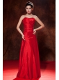 Red Empire Sweetheart Homecoming Dress Taffeta Ruch Floor-length