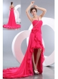 Sexy Hot Pink Empire High-low Prom Dress One Shoulder Chiffon Beading