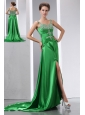 Sexy Green Beading Prom Dress Column Straps Court Train Elastic Woven Satin