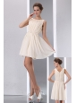 Simple Champagne Cocktail Dress Ruch A-line Sccop Mini-length Chiffon