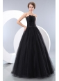 Sweet Black A-line Strapless Junior Prom / Evening Dress Floor-length Tulle