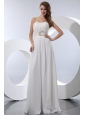 White Empire Strapless Floor-length Chiffon Beading Prom Dress
