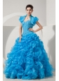 Beautiful Baby Blue A-line / Princess Sweet 16 Dress Sweetheart Floor-length Organza Beading