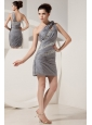 Beautiful Grey Column One Shoulder Short Prom Dress Mini-length Chiffon Beading