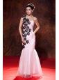 Dramatic Baby Pink Prom Dress Mermaid One Shoulder Embroidery Floor-length Organza