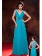 Elegant Teal Prom Dress Empire V-neck Beading and Pleat Floor-length Chiffon
