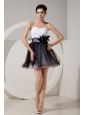 Glamorous Black and White Short Prom Dress A-line / Princess Sweetheart Mini-length Tulle Hand Made Flowers