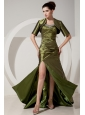 Gorgeous Olive Green Prom Dress Column / Sheath Sweetheart Beading and Ruch Brush Train Satin