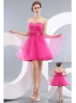 Lovely Hot Pink A-line / Princess Sweetheart Beading Short Prom / Homecoming Dress Mini-length Organza