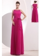 Modest Hot Pink Empire Prom Dress Bateau Chiffon Sashes Floor-length