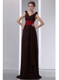 New Brown Column V-neck Ruch Mother Of The Bride Dress Brush Train Chiffon