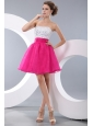 Pretty Hot Pink A-line / Princess Strapless Beading Short Prom / Homecoming Dress Mini-length Organza