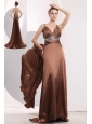 Sexy Brown Empire Straps Prom / Evening Dress Brush Train Elastic Woven Satin Beading
