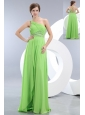 Sexy Light Green One Shoulder Prom / Evening Dress Brush Train Chiffon Beading Empire