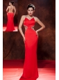 Sexy Red Spaghetti Straps Prom DressBrush Train Chiffon Beading Column / Sheath