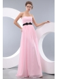 Simple Pink Prom Dress Empire Strapless Belt Brush Train Chiffon