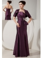 Unique Dark Purple Mermaid Prom Dress Strapless  Satin Beading Floor-length
