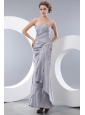 Unique Gray Column Sweetheart Prom Dress Ankle-length Taffeta Ruch and Beading